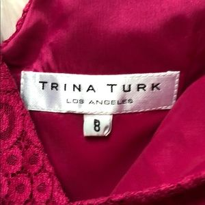 Trina Turk Dresses - Trina Turk Raspberry Lace Cocktail V-neck Dress